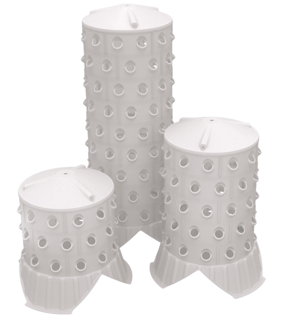 Standing version of aeroponic barrel in different sizes