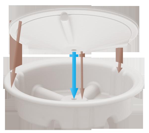 Lid-base for quick multi unit setups using 40mm PVC as draining pipe