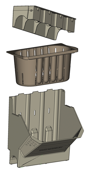 Main parts of the aponix Wall System - Module, Pot Insert and Lid.